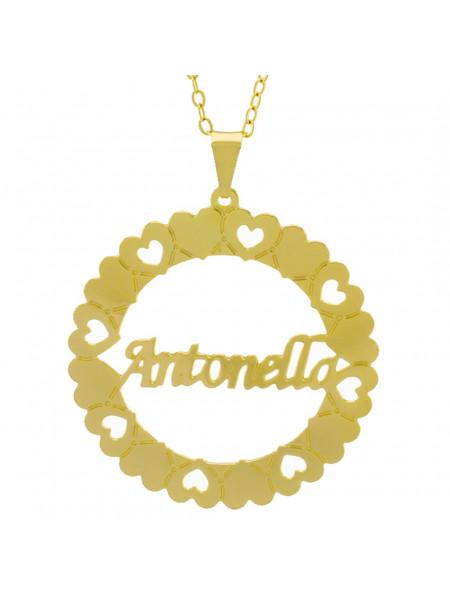 Gargantilha Pingente Mandala Manuscrito Antonella Banho Ouro Amarelo 18 K - 1061291