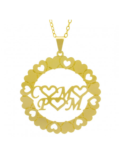Gargantilha Pingente Mandala Manuscrito C ♥ M ♥ P ♥ M Banho Ouro Amarelo 18 K - 1061300