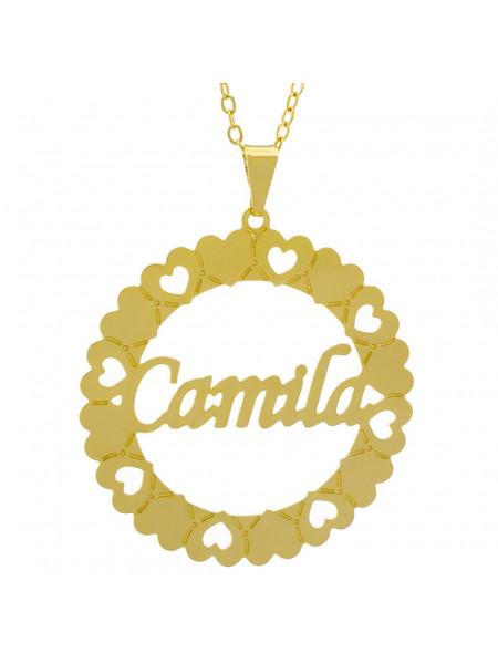 Gargantilha Pingente Mandala Manuscrito Camila Banho Ouro Amarelo 18 K - 1061303