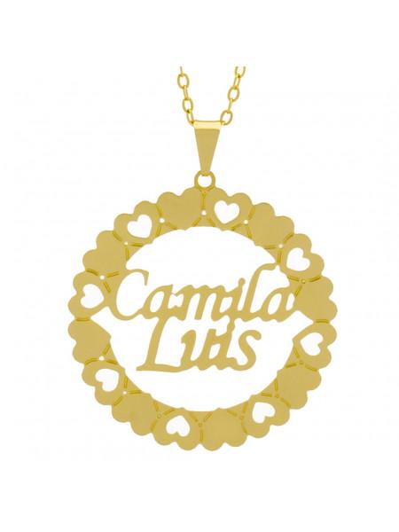 Gargantilha Pingente Mandala Manuscrito Camila Luis Banho Ouro Amarelo 18 K - 1061302