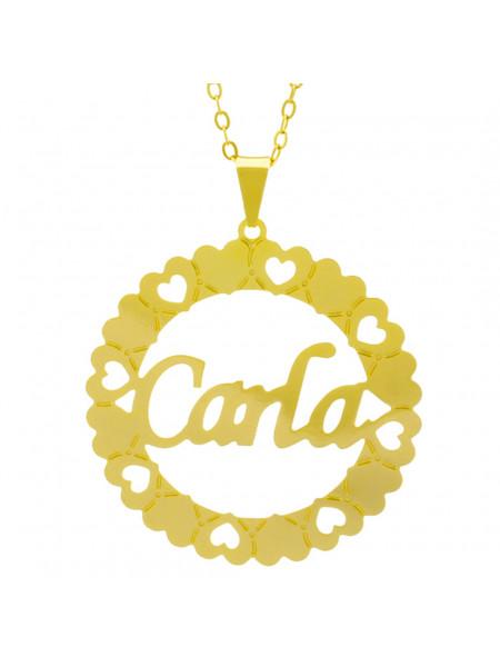 Gargantilha Pingente Mandala Manuscrito Carla Banho Ouro Amarelo 18 K - 1061304