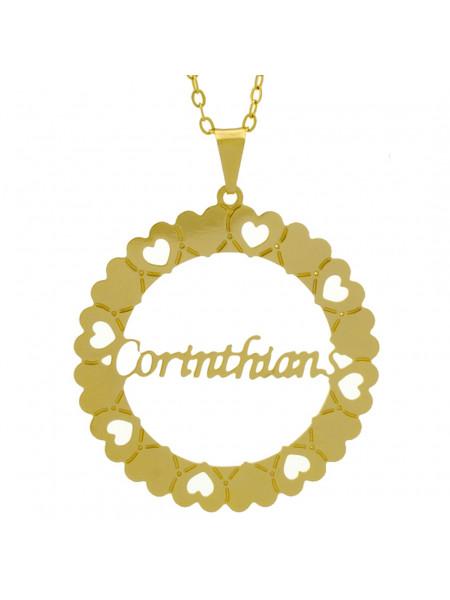 Gargantilha Pingente Mandala Manuscrito Corinthians Banho Ouro Amarelo 18 K - 1061307