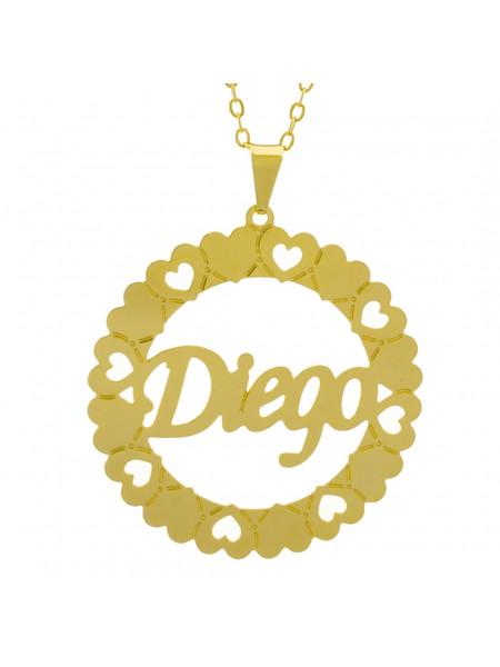 Gargantilha Pingente Mandala Manuscrito Diego Banho Ouro Amarelo 18 K - 1061309