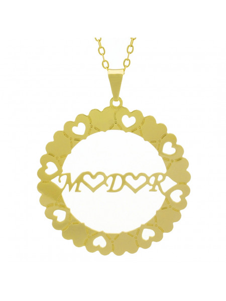 Gargantilha Pingente Mandala Manuscrito M ♥ D ♥ R Banho Ouro Amarelo 18 K - 1061372