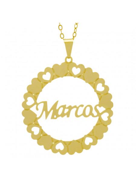 Gargantilha Pingente Mandala Manuscrito MARCOS Banho Ouro Amarelo 18 K - 1061376