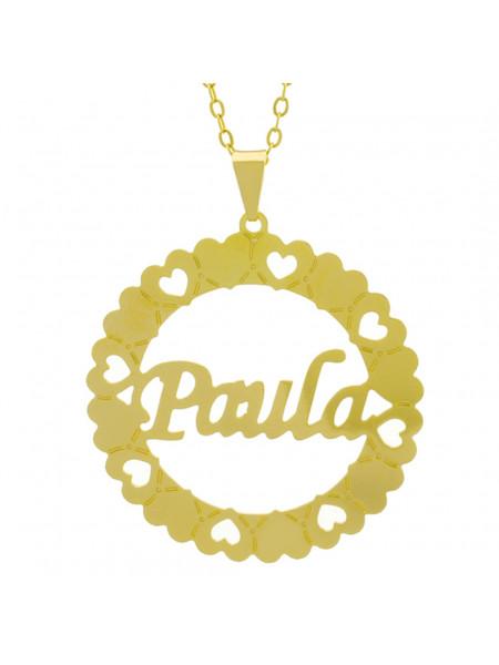 Gargantilha Pingente Mandala Manuscrito PAULA Banho Ouro Amarelo 18 K - 1061387