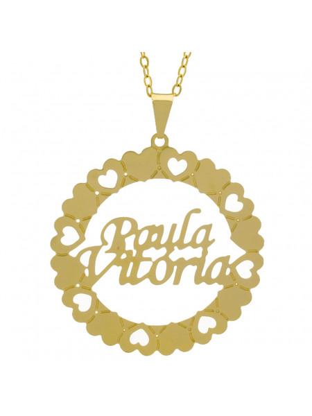 Gargantilha Pingente Mandala Manuscrito PAULA VITÓRIA Banho Ouro Amarelo 18 K - 1061385