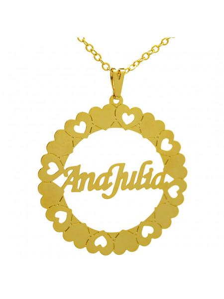Gargantilha Pingente Mandala Manuscrito ANA JULIA Banho Ouro 18 K - 1060064