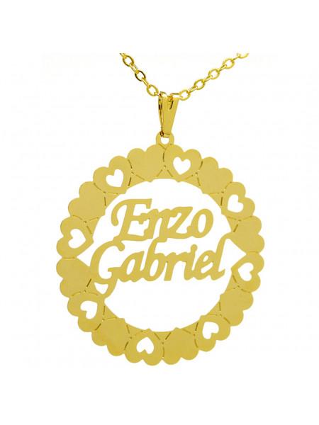 Gargantilha Pingente Mandala Manuscrito ENZO GABRIEL Banho Ouro 18 K - 1060040