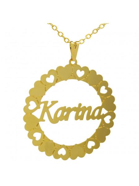 Gargantilha Pingente Mandala Manuscrito KARINA Banho Ouro 18 K - 1060085