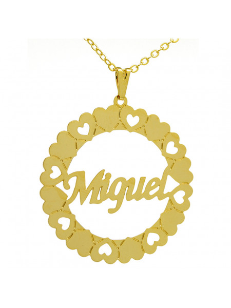 Gargantilha Pingente Mandala Manuscrito MIGUEL Banho Ouro 18 K - 1060052