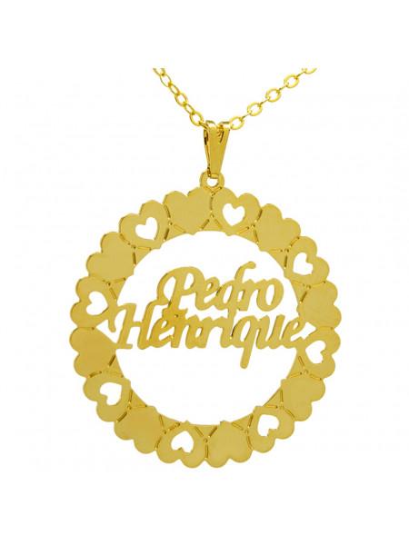 Gargantilha Pingente Mandala Manuscrito PEDRO HENRIQUE Banho Ouro 18 K - 1060055