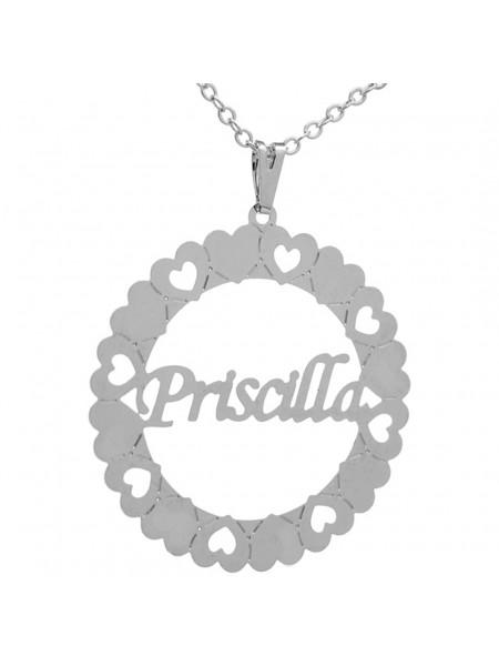 Gargantilha Pingente Mandala Manuscrito PRISCILLA Banho prata 1000 - 2060177