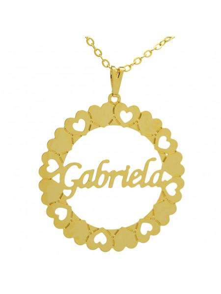 Gargantilha Pingente Mandala Manuscrito GABRIELA Banho Ouro 18 K - 1060077
