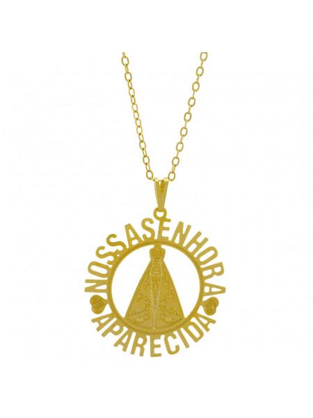 Gargantilha Pingente Nossa Senhora Aparecida Banhada Ouro Amarelo 18 K - 1060126