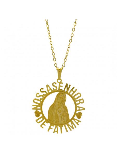 Gargantilha Pingente Nossa Senhora de Fátima Banhada Ouro Amarelo 18 K - 1060130