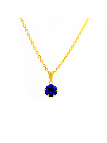 Gargantilha Ponto De Luz Azul Topázio Banhada Ouro 18 K - 1060150