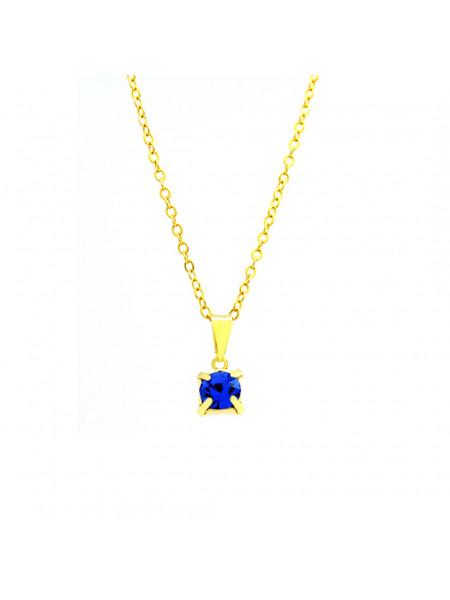 Gargantilha Ponto De Luz Azul Topázio Banhada Ouro 18 K - 1060160