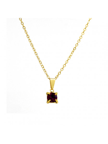 Gargantilha Ponto De Luz Violeta Ametista Banhada Ouro 18 K - 1060159