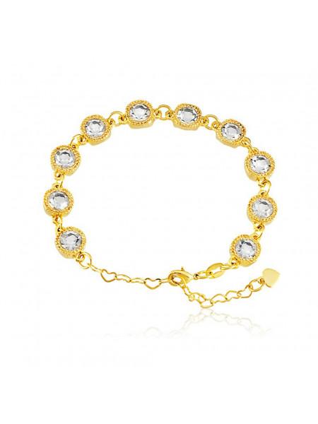 Pulseira Cruzada Cristal Banhada Em Ouro 18 K - 1080002