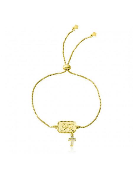 Pulseira Pingente Cruz da Fé Banhada Em Ouro Amarelo 18 K - 1080013