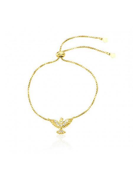 Pulseira Pingente Pomba Branca Banhada Em Ouro Amarelo 18 K - 1080014