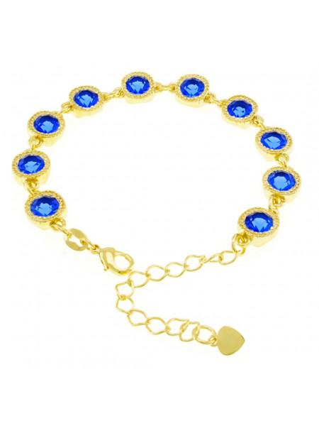 Pulseira Cruzada Azul Safira Banhada Em Ouro 18 K - 1080019