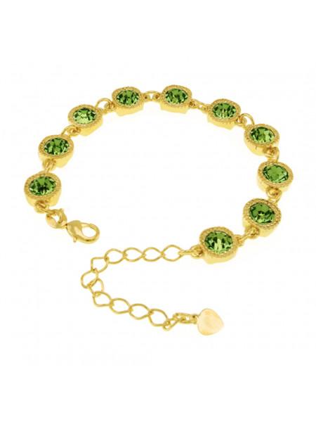 Pulseira Cruzada Verde Banhada Em Ouro 18 K - 1080005