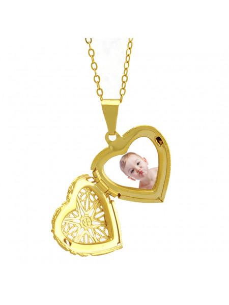 Gargantilha Pingente Relicário Corações Banhado Ouro 18 k - 1060001