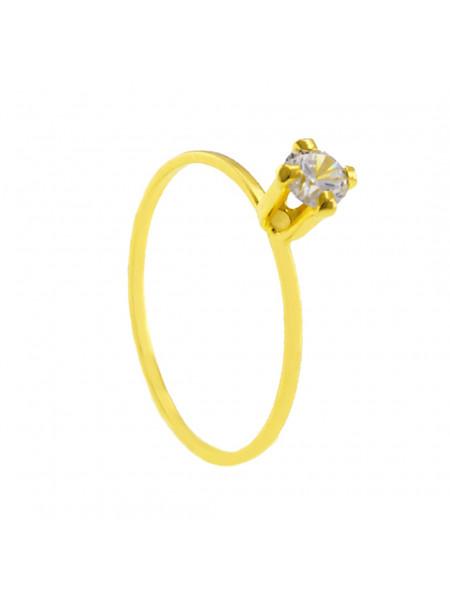 Anel Solitário Pedra Zircônia Banhado Ouro 18 k - 1010012