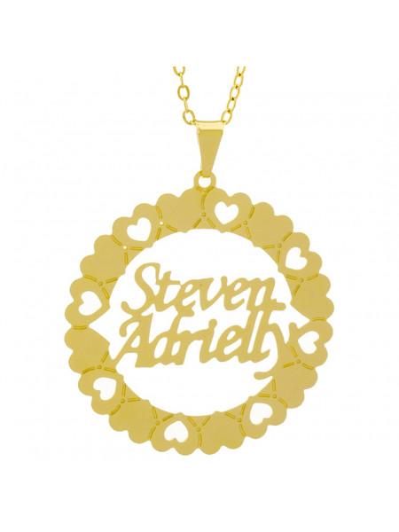 Gargantilha Pingente Mandala Manuscrito STEVEN ADRIELLY Banho Ouro Amarelo 18 K - 1061400