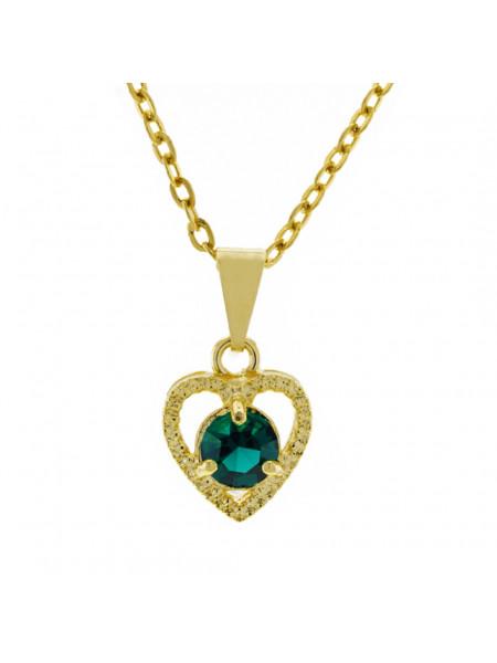 Gargantilha Ponto Luz Coração Horus Import Verde Esmeralda Banhada Ouro 18 K - 1061125