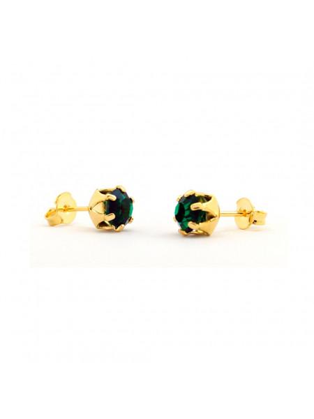 Brinco Ponto de Luz Verde Esmeralda Banhado Ouro 18 k - 1030004