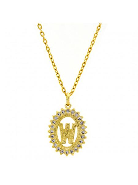 Gargantilha Horus Import Pingente Letra W Banhada Ouro Amarelo 18 K - 1060226