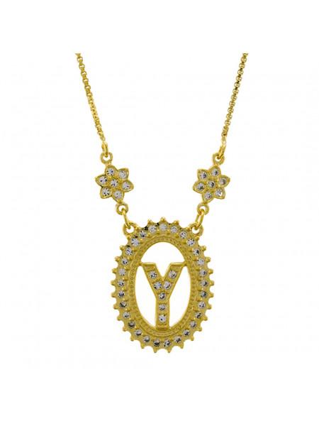 """Colar Letra """" Y """" Cravejada Zircônia Banhado Ouro Amarelo 18 K - 1061253"""