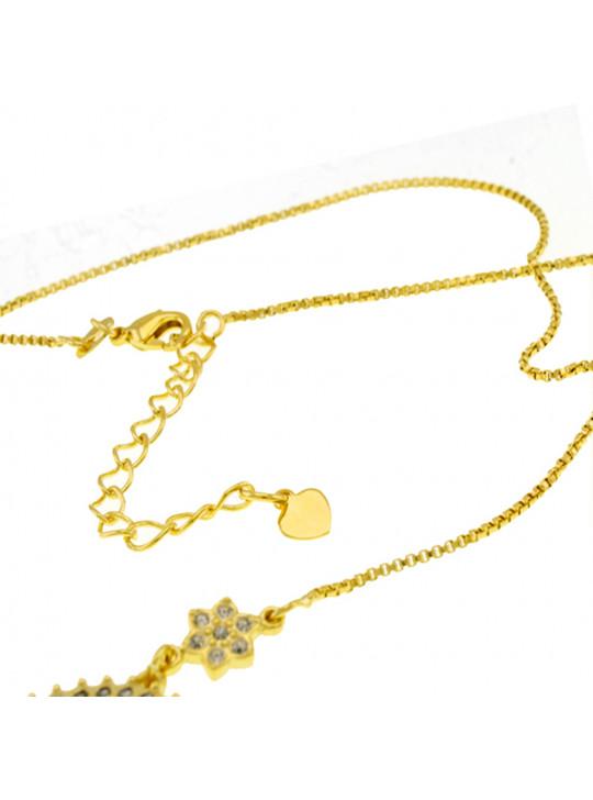 """Colar Letra """" V """" Cravejada Zircônia Banhado Ouro Amarelo 18 K - 1061250"""