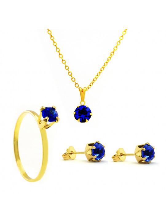 Kit Azul Safira Banhado Ouro 18k - KIT16483