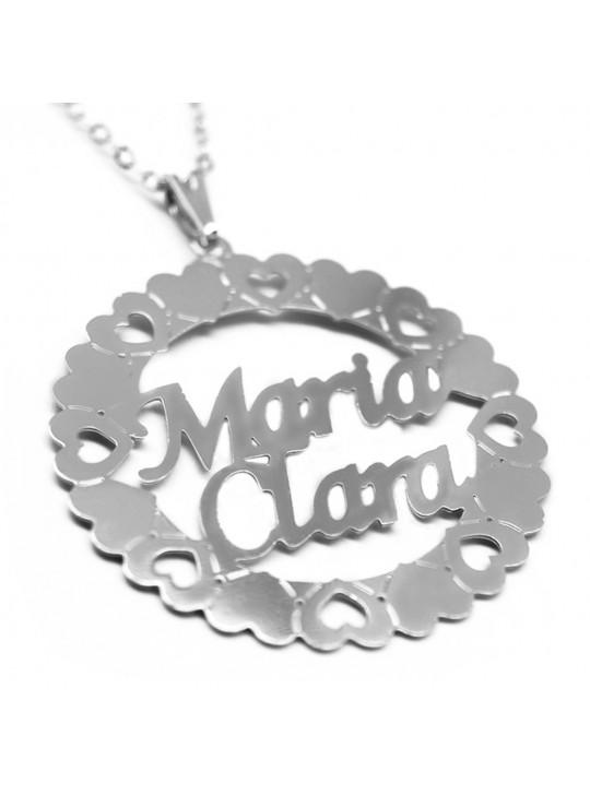 Gargantilha Pingente Mandala Manuscrito MARIA CLARA Banho prata 1000 - 2060163