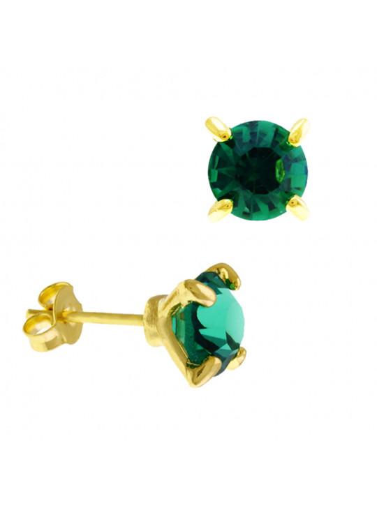Brinco Ponto Luz Horus Import Verde Esmeralda Banhado Ouro Amarelo 18 K - 1031101