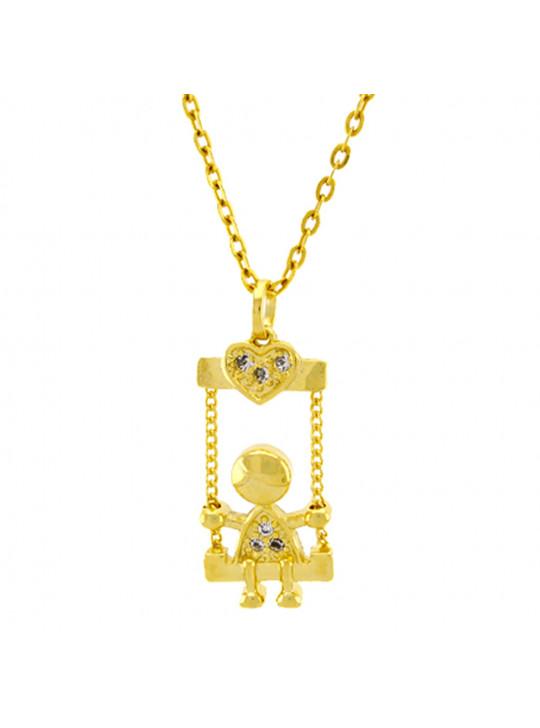 Gargantilha Horus Import Menininho Balanço Zircônia Banhada Ouro Amarelo 18 K - 1061167