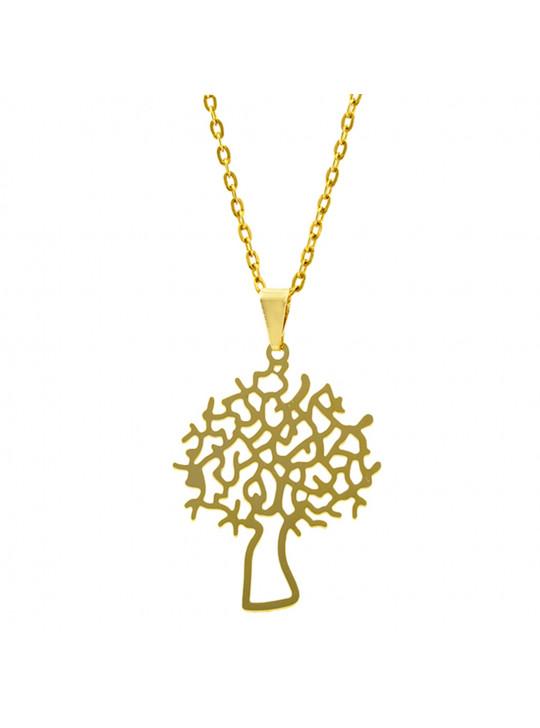 Gargantilha Horus Import Árvore da Vida Lisa Banhada Ouro Amarelo 18 K 1060167