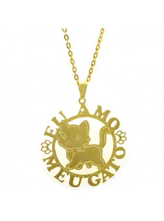 Gargantilha Horus Import Eu Amo Meu Gato Banhada Ouro Amarelo 18 K 1060168