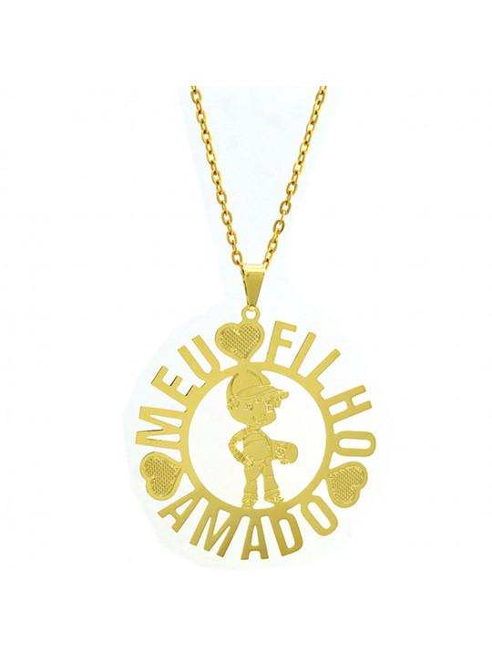 Gargantilha Horus Import Meu Filho Amado Banhada Ouro Amarelo 18 K 1060170