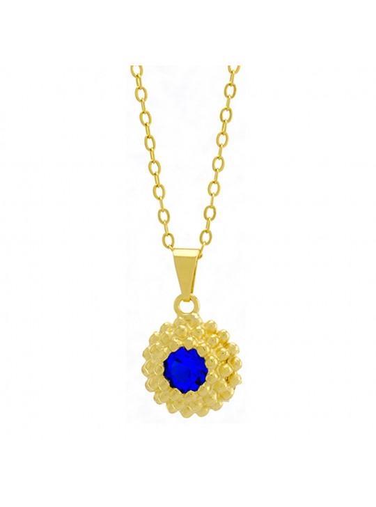 Gargantilha Horus Import Ponto Luz Flor Azul Zafira Banhada Ouro 18 K - 1061121