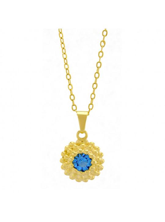 Gargantilha Horus Import Ponto Luz Flor Aquamarine Banhada Ouro 18 K - 1061122