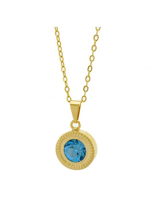 Gargantilha Horus Import Ponto Luz Eye Aquamarine Banhada Ouro 18 K - 1061134