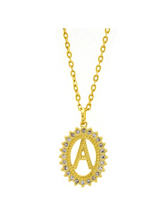 Gargantilha Horus Import Pingente Letra A Banhada Ouro Amarelo 18 K - 1060204