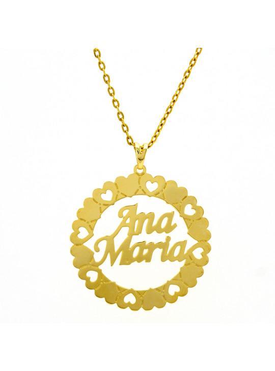 Gargantilha Pingente Mandala Manuscrito ANA MARIA Banho Ouro 18 K - 1060257