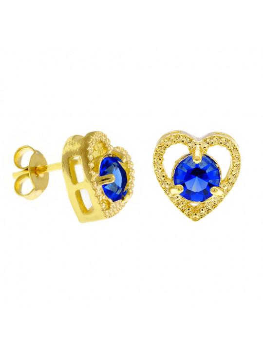 Brinco Ponto Luz Coração Azul Zafira Banhado Ouro Amarelo 18 K - 1031127