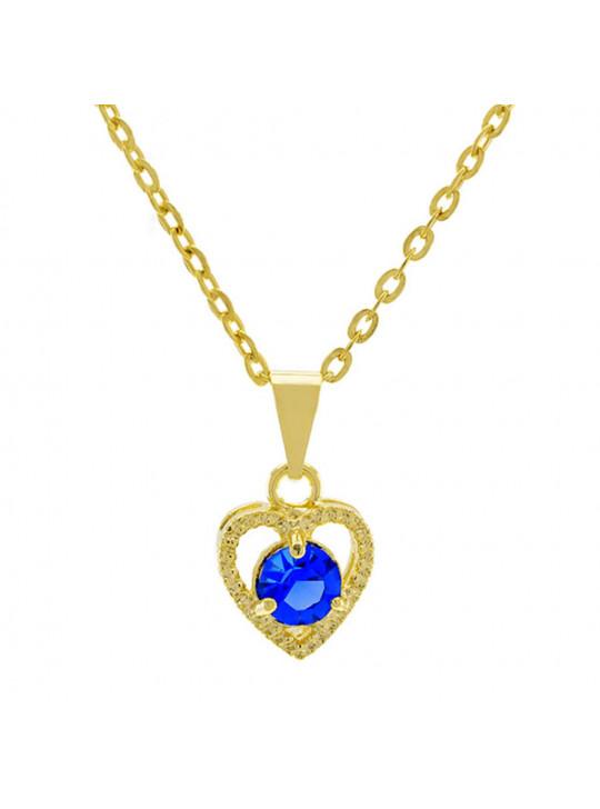 Gargantilha Ponto Luz Coração Horus Import Azul Zafira Banhada Ouro 18 K - 1061127